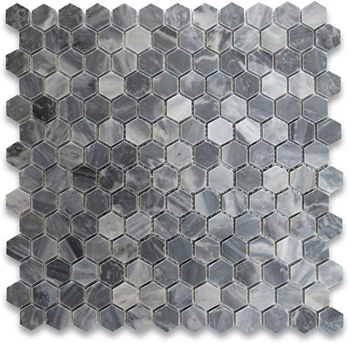 Bardiglio Gray Italian Dark Grey Marble Hexagon Mosaic Tile 1 Inch Polished Amazon Com Hexagonal Mosaic Hexagon Mosaic Tile Mosaic Tiles