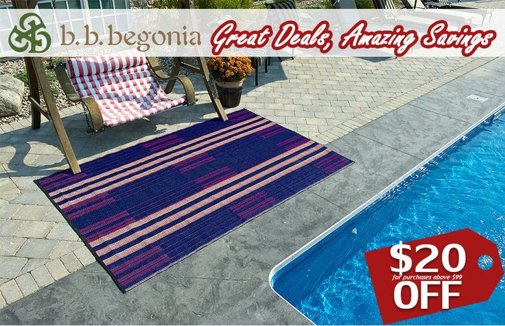 Make it your New Year's Resolution to save money this year! Get $10 OFF for purchases above $99. Get $20 OFF for purchases above $199. Discount applies to Outdoor Rugs, RV Mats, and Reusable Shopping Bags. Hurry and visit bbbegonia.com! Order now!