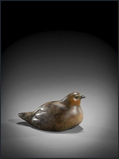 Sitting Partridge by Simon Gudgeon Bronze ~ 10cm x 17cm