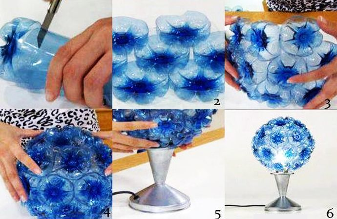 hmm...I may have pinned this before but I didn't notice the awesome flower/lamp before!!! 45 Ideas of How To Recycle Plastic Bottles    DesignRulz.com