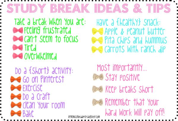 Study Break Ideas & Tips These tips ate great ideas for taking break turning studying