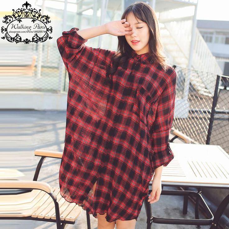 Plus Size Women Blouse European Dress Chiffon Red Black Colorblock Plaid Clothing Loose Long Cardigan Lady Large Size Blouse