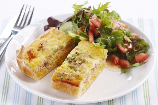 For an easy bake, create this quick and delicious meal with sweet corn kernels, pink salmon and grated tasty cheese.