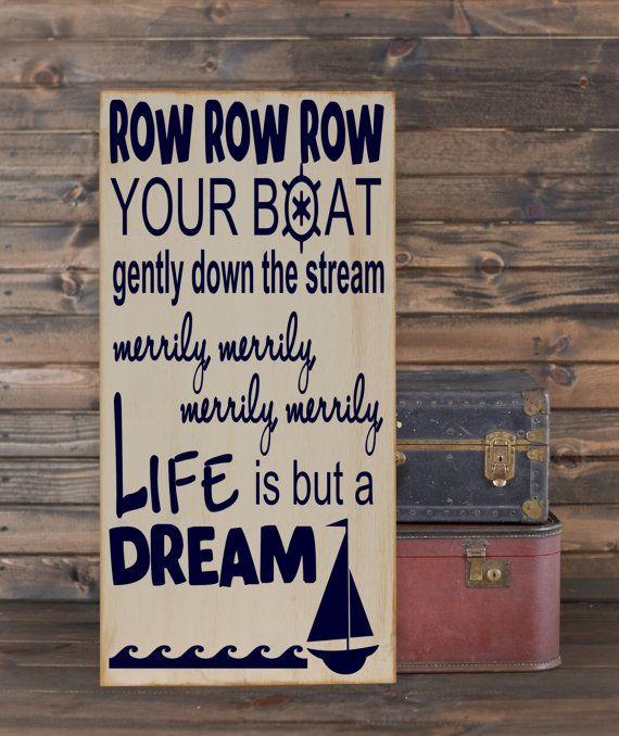 """Row Row Row Your Boat Subway Art Vinyl Wooden Sign 12"""" x 24"""". Nursery decor, baby boy deocr, nautical nursery sign, nursery rhyme sign"""