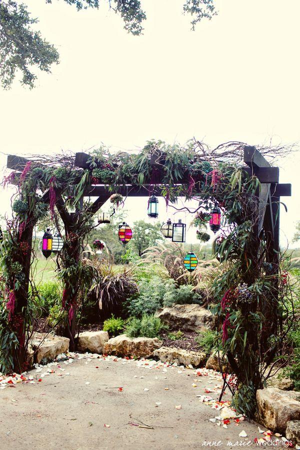 arch: Idea, Dreams, Bohemian Wedding, Wedding Arches, Gardens, Wedding Events, Hanging Lanterns, Mason Jars, Wedding Arbors