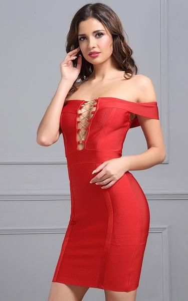 81a7f4b4ed9 A stunning red off-the-shoulder bandage dress. The deep plunge lace-up  front is hot, showing off your delicate neckline and more than a glimpse of  cleavage.
