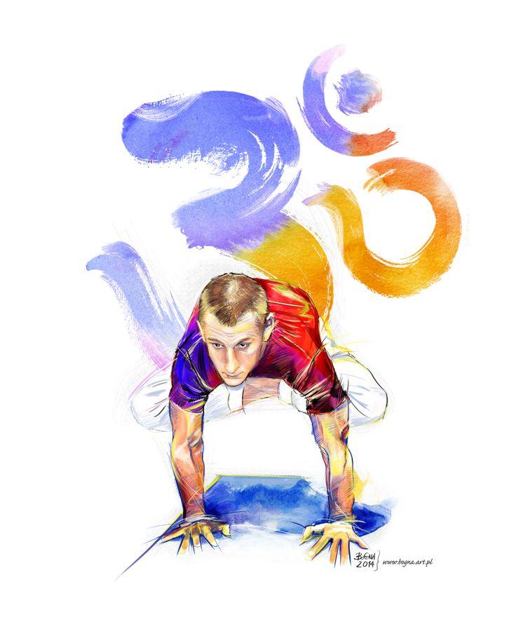 My illustrations - The Art of Yoga - Urdhva-Kukkutasana/ Raised Cock Pose. Yoga Asana presented by Bartosz Furmaniak - http://www.yogapoznan.pl/