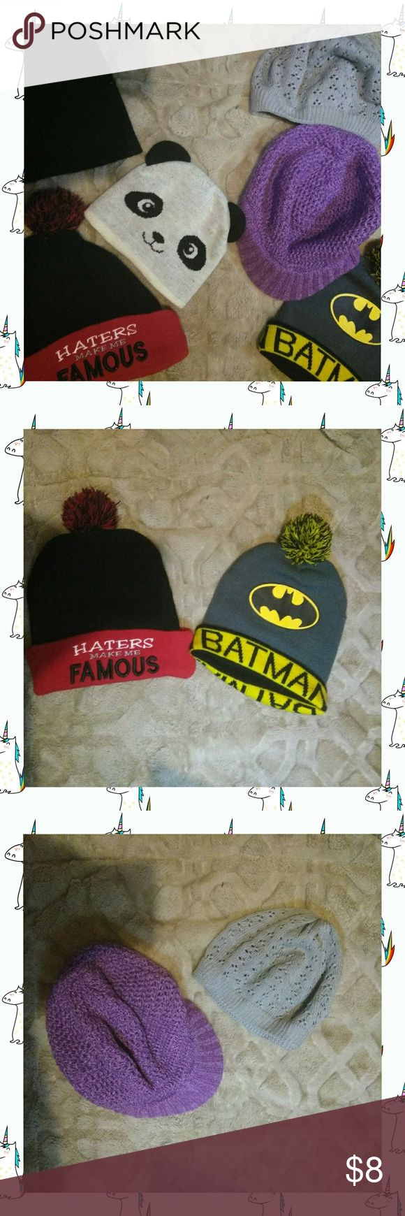Beanie Hat Bundle Beanie Hat Bundle  These have been worn but have been washed twice for sale.  Beanies can be removed if needed but I would highly encourage you to purchase as a whole.  Bundle includes: - Panda Beanie (smaller size) - Haters Make Me Famous Beanie (w/ Pom-Pom) - Batman Beanie (w/ Pom-Pom) - Gray Slouch Beanie - Purple Slouch Beanie w/Bill  Feel free to ask any questions 😄  🚫 No Trades 🚫 ✔Make an offer✔ Other