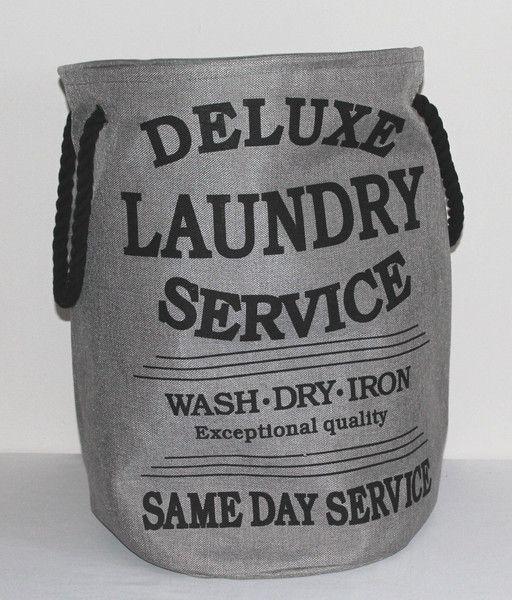 Wäschekörbe - Wäschesack Laundry grau Wäschesammler Wäschekorb - ein Designerstück von dekodreams-wolf bei DaWanda