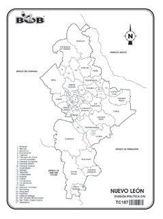 Nuevo León - División política c/n | Ediciones Bob