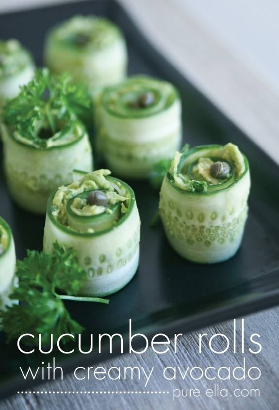 Cucumber Rolls with creamy avocado filling  ~Frisky   http://pureella.com/delicious-healthy-hors-doeuvres-cucumber-rolls-with-creamy-avocado/