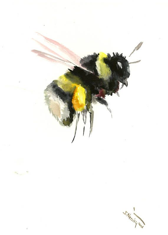 Bumblebee Painting original watercolor art handmade paper