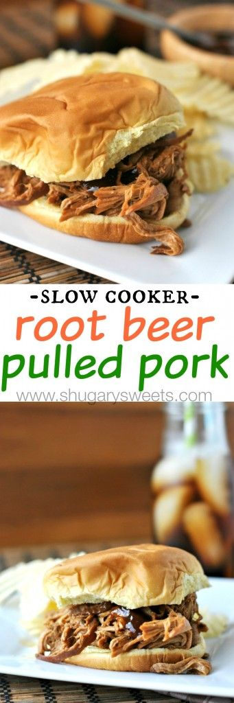 Slow Cooker Root Beer Pulled Pork: a sweet and tangy dinner idea with less than 5 minutes prep! #slowcooker