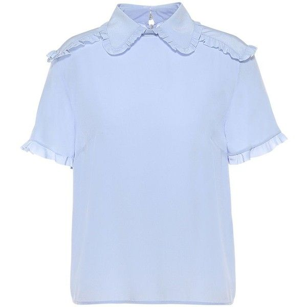 REDValentino Silk Top With Ruffle Details (1.355 BRL) ❤ liked on Polyvore featuring tops, ruffle collar top, frilled top, short sleeve tops, blue short sleeve top and short sleeve silk top