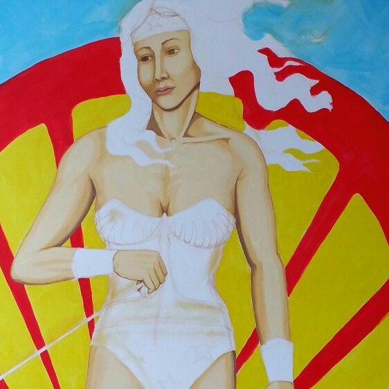 Wonder Woman as Venus in this work in progress. #artwork #mural #illustration #wonderwoman #beauty #love #shell #botticelli #artstudio