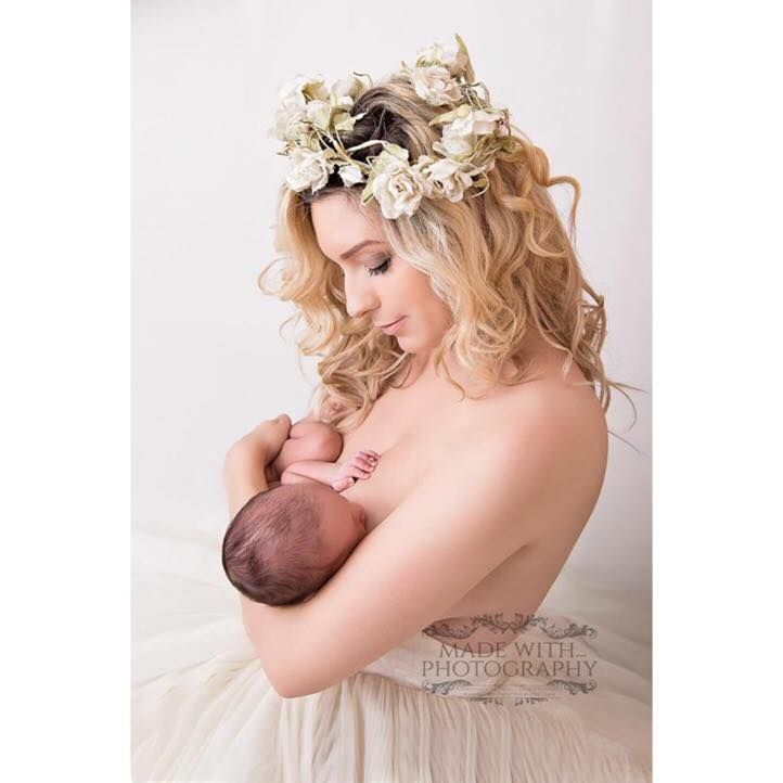 """""""Just wanted to share this image I had taken on Friday of myself and my new baby. He is my third breastfeeding baby, and all three of my children haven't lost any weight from birth, just gained!  This image was reported by a 'friend' yesterday and I have a clue who, But I still proudly have it as my profile photo. If Facebook decides to take it down, then I'll put it back up. It's badass!   A friend yesterday wrote to me and said that seeing my images feeding has made her change her mind…"""