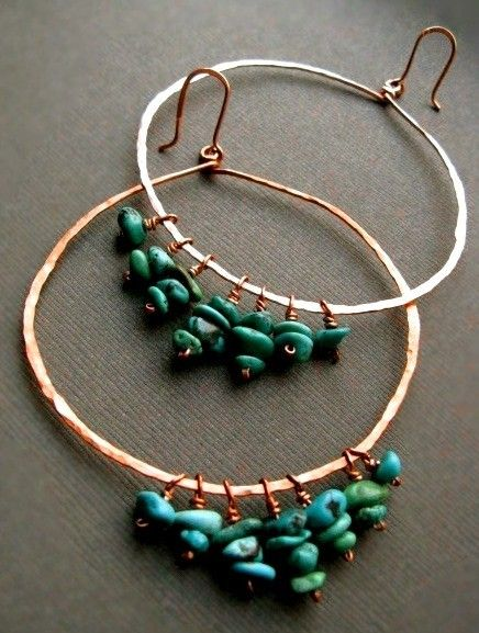 Handmade Turquoise and Copper Earrings--
