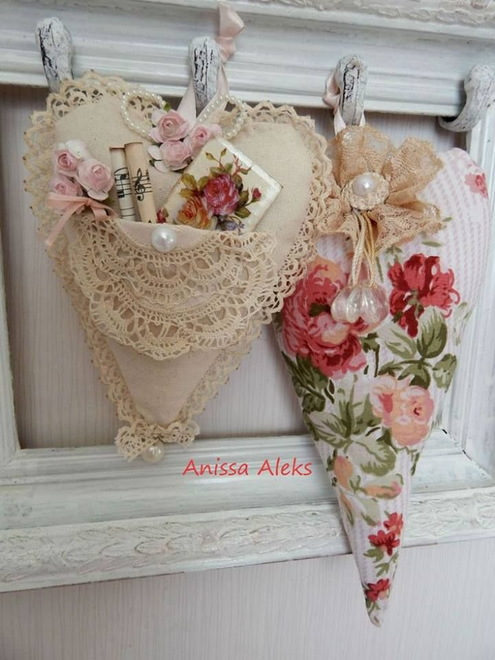 vintage heart with lace.  Love with the beading. use the little  round doilies