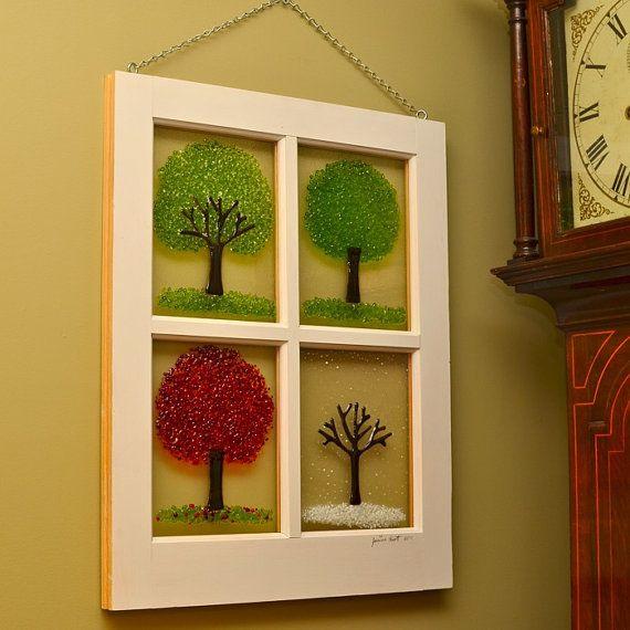 Four Season Window Fused Glass Art by JeanineHuot on Etsy, $230.00