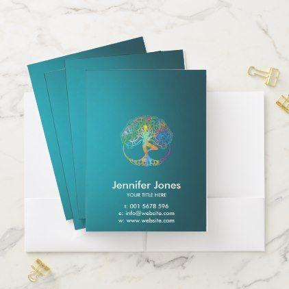 Colorful  symbol for Vriksasana - Yoga Tree pose Pocket Folder - yoga health design namaste mind body spirit
