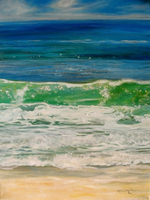 """This gorgeous painting, """"Water Series"""" by Michelle Courier is available in the gallery.  Michelle is a Bay City resident.Cities Resident, Water, Beautiful Painting, Gorgeous Painting, Bays Cities, Beach Painting, Michelle Courier, Amazing Artworks, Art Beautiful"""