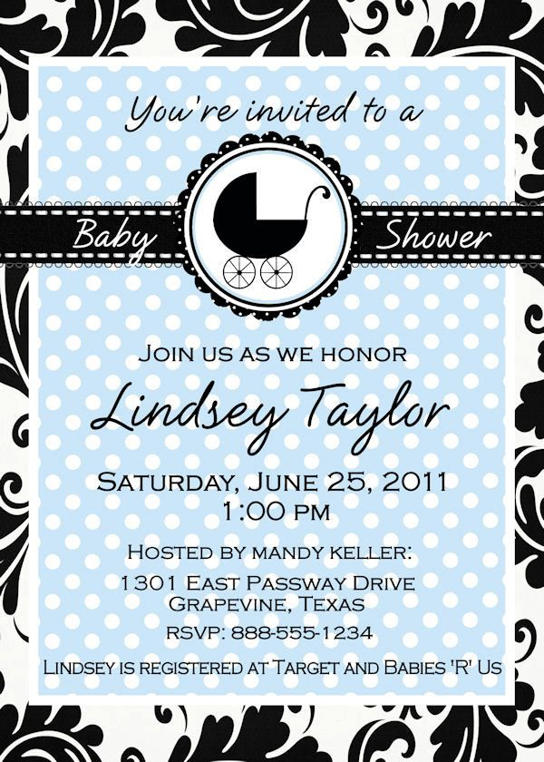 clever baby shower invitation wording%0A Custom Baby Shower Invitation in classic Blue Black and White with carriage  Personalized for Boy or