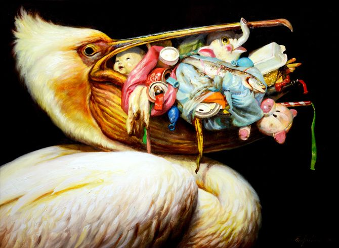 Favorite contemporary painter, Martin Wittfooth. Does all of Silverstein's album art which is also awesome.