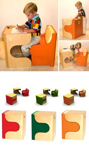 Kids table n chair makes a cube, cool!
