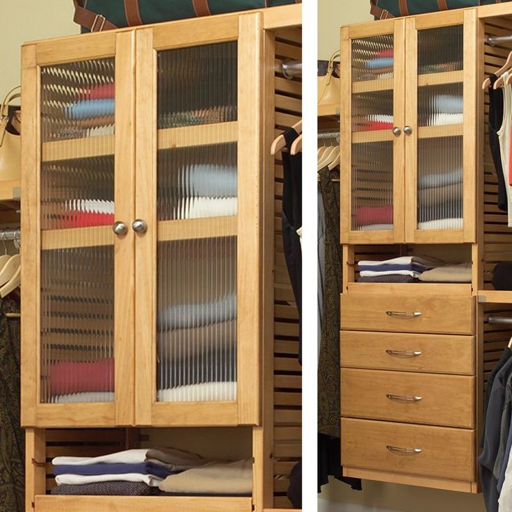 John Louis Home Fluted Glass Doors   Create A Unique Feature In Your Closet  With This Door Kit For Your Matching Adjustable Shelf Tower.