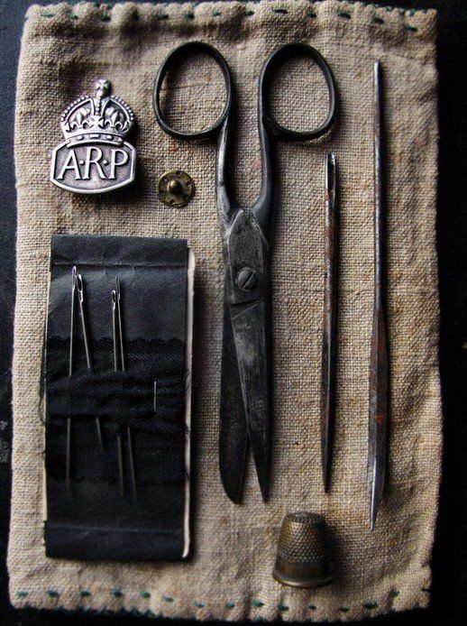 Artfully blackened metal #scissors #thimble #needles make for a stylish 19th century look sewing kit