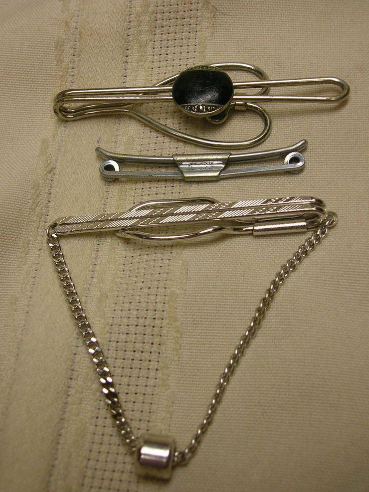 Vintage Men's Tie Clips 1 Collar Bar Ro-Lon Hickok Swank 2 Tie Clasps #RolonHickokSwank #TieBarClipClasp