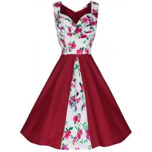 Naomi Floral Rojo Corpiño Ajustado con Falda Swing Bicolor Vestido Swing Fiesta 50s