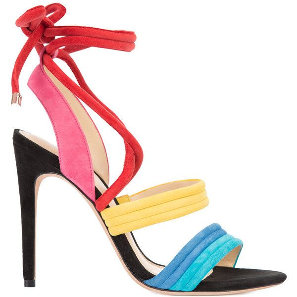 Alexandre Birman Multicolor Lace-Up Sandal found on Polyvore featuring shoes, sandals, multi, lace up sandals, alexandre birman sandals, alexandre birman, multicolor shoes and red sandals