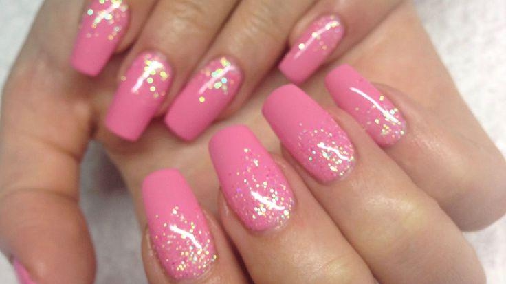 ♡ How to: Pink Gelnails w falling glitter