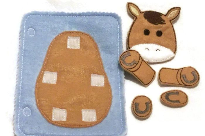 Horse build a book activity book add on page felt quiet book page