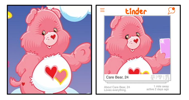 Love-a-Lot Bear turned into Tinder Bear. | If The Care Bears Were Twentysomethings