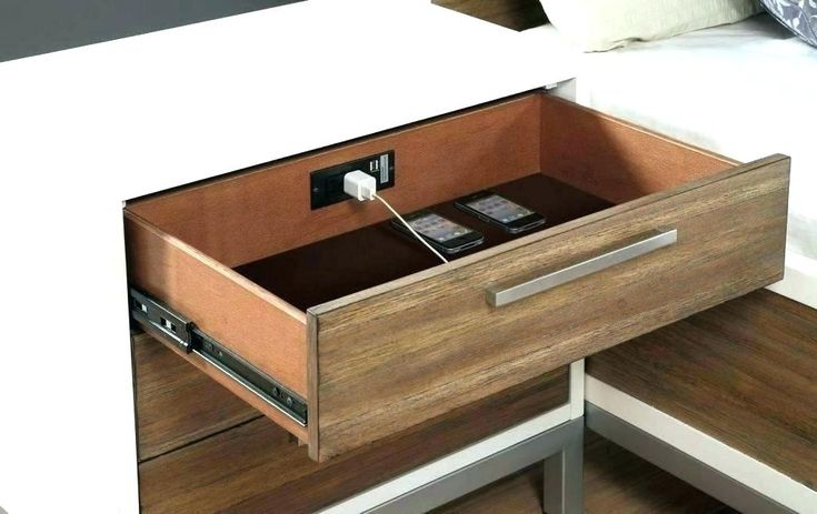 Bedside organizer side table with charging station bedside