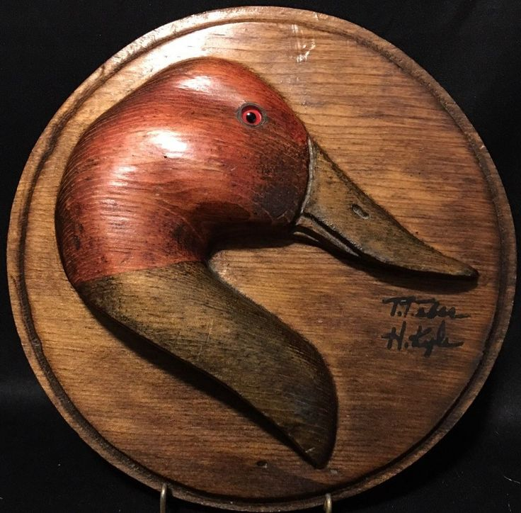 """Vintage Hand Carved Crafted Wood Painted Redhead Duck Bust SIGNED 9"""" Wall Plaque    eBay"""
