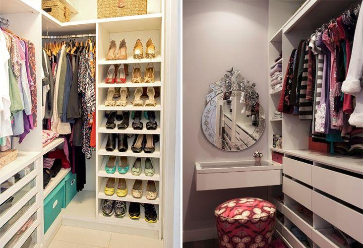 Como planejar decorar e organizar um closet pequeno closet for Modelos de closets para dormitorios pequenos