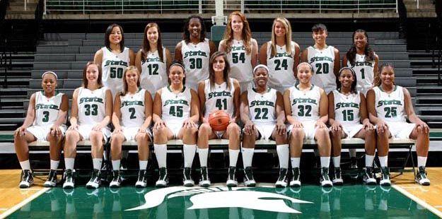 michigan state basketball team   Front Row: Porsche Poole, Taylor Alton, Mandy Piechowski, Lauren Aitch ...