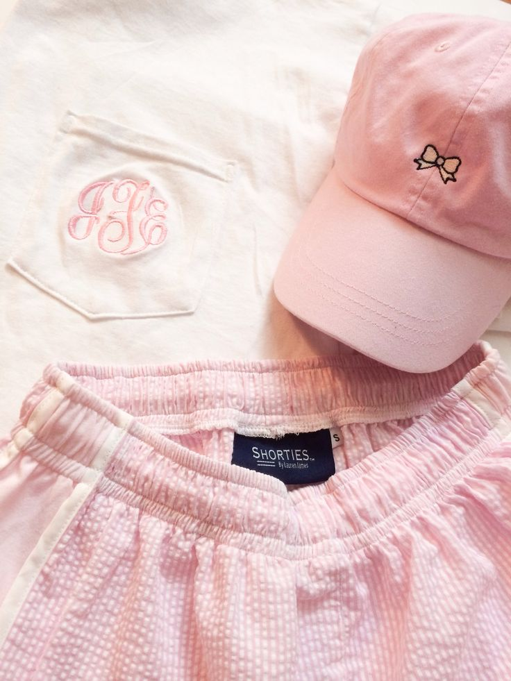 Seersucker shorts and monogram t shirt but can can we please just talk about that hat... PERFECTION.