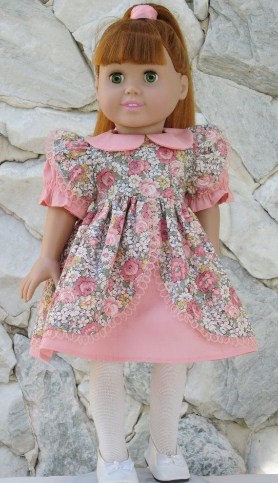 Peach color dress with floral cotton overlay by TinaDollDesigns, $14.00
