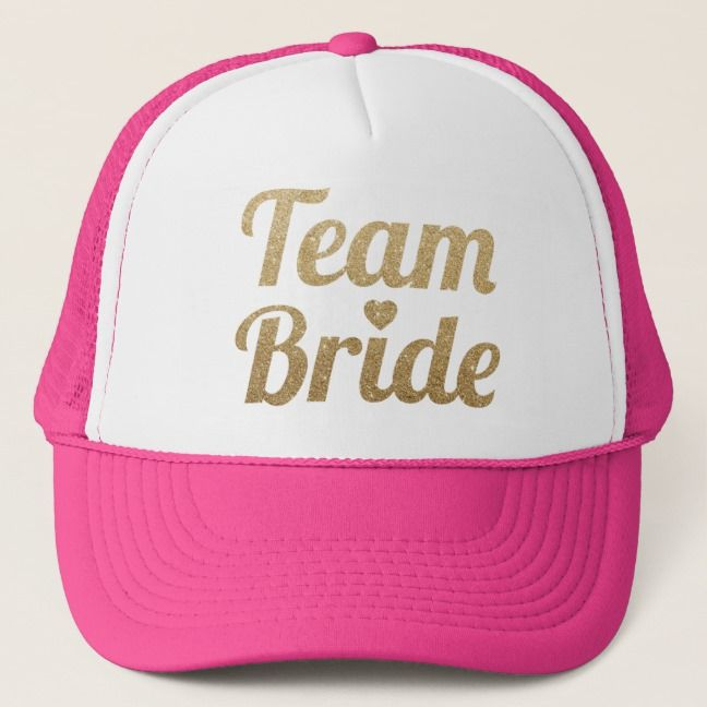 4c65df693 Team Bride Gold Glitter Hot Pink Trucker Hat | Bachelorette Party ...