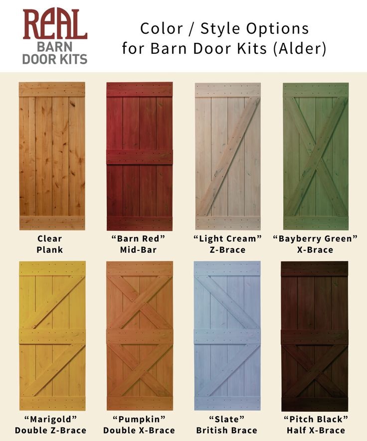 Real Barn Door Kit color and style options... building soon....