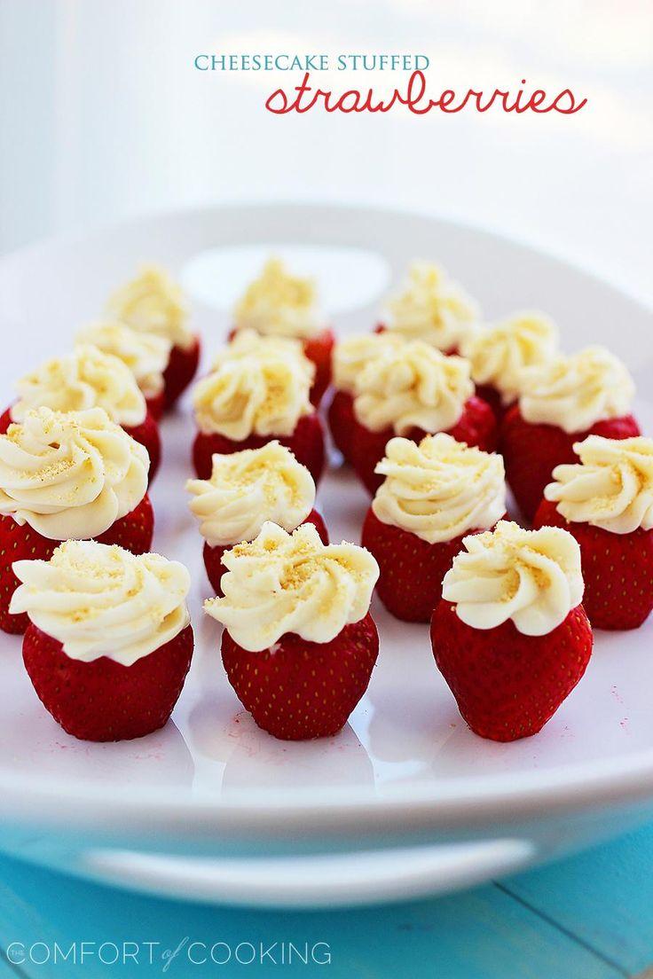 Cheesecake Stuffed Strawberries from @georgia lin. lin. lin. lin. Johnson
