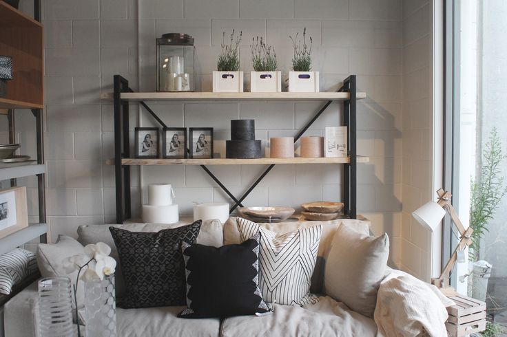 Monochrome couch styling.