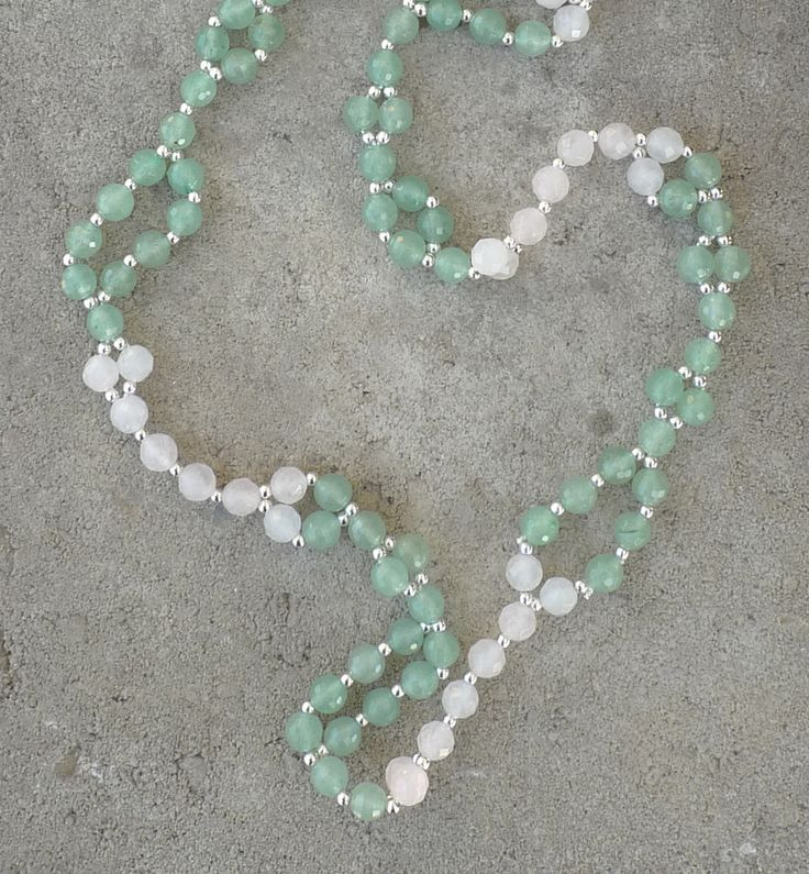 Aventurine and Rose Quartz tantric mala Green and Pink Tantric Mala