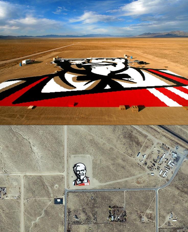 Giant KFC Painting, Nevada desert, 2006  via: Arturo de Albornoz     google maps coordinates