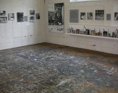Hamptons, New York, United States, North America: floor of Jackson Pollock's studio is a colorful palimpsest of drips and swirls, some of