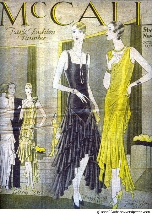 Faultless flapper chic of the latter twenties. As the decade drew to a close, hemlines which had steadily been on the rise began again to dip. For women not certain of whihc look would suffice, 1928 and 1929 brought on the fabulous indecision of the uneven hemline- draped dazzling, shorter in the front for leggy luxury- longer in the back for moderne elegance.